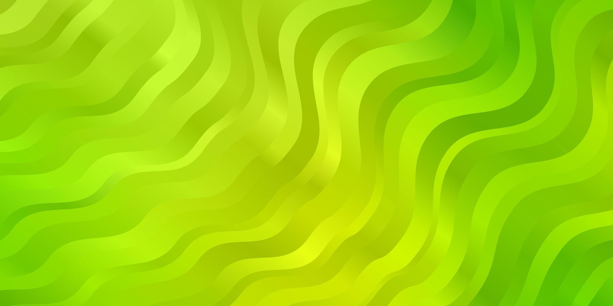 hellgrüner, gelber Vektorhintergrund mit Kurven. vektor