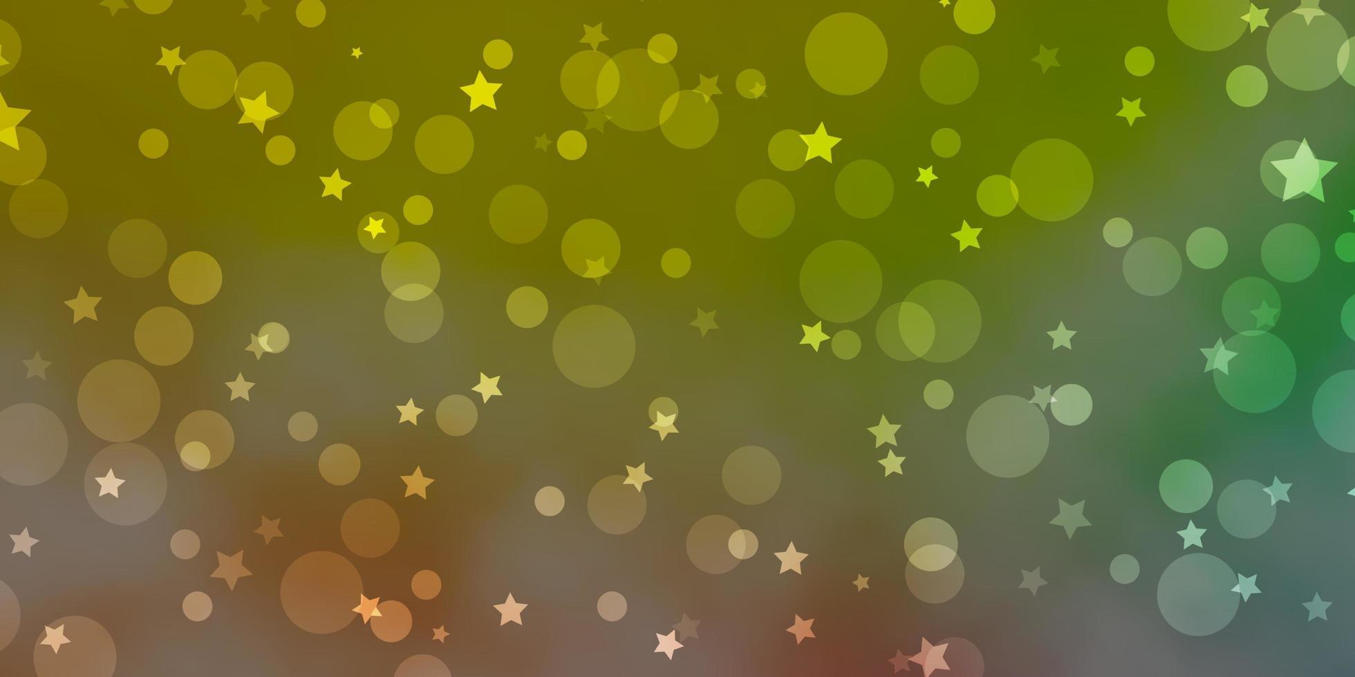 hellgrüner, roter Vektorhintergrund mit Kreisen, Sternen. vektor