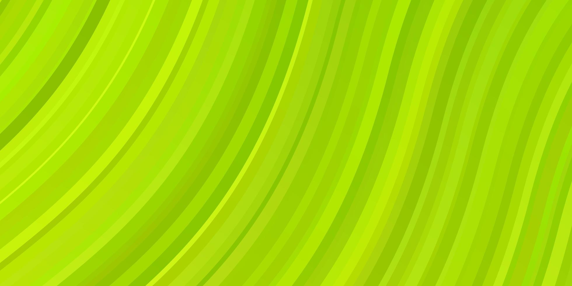 ljusgrön, gul vektorbakgrund med böjda linjer. vektor