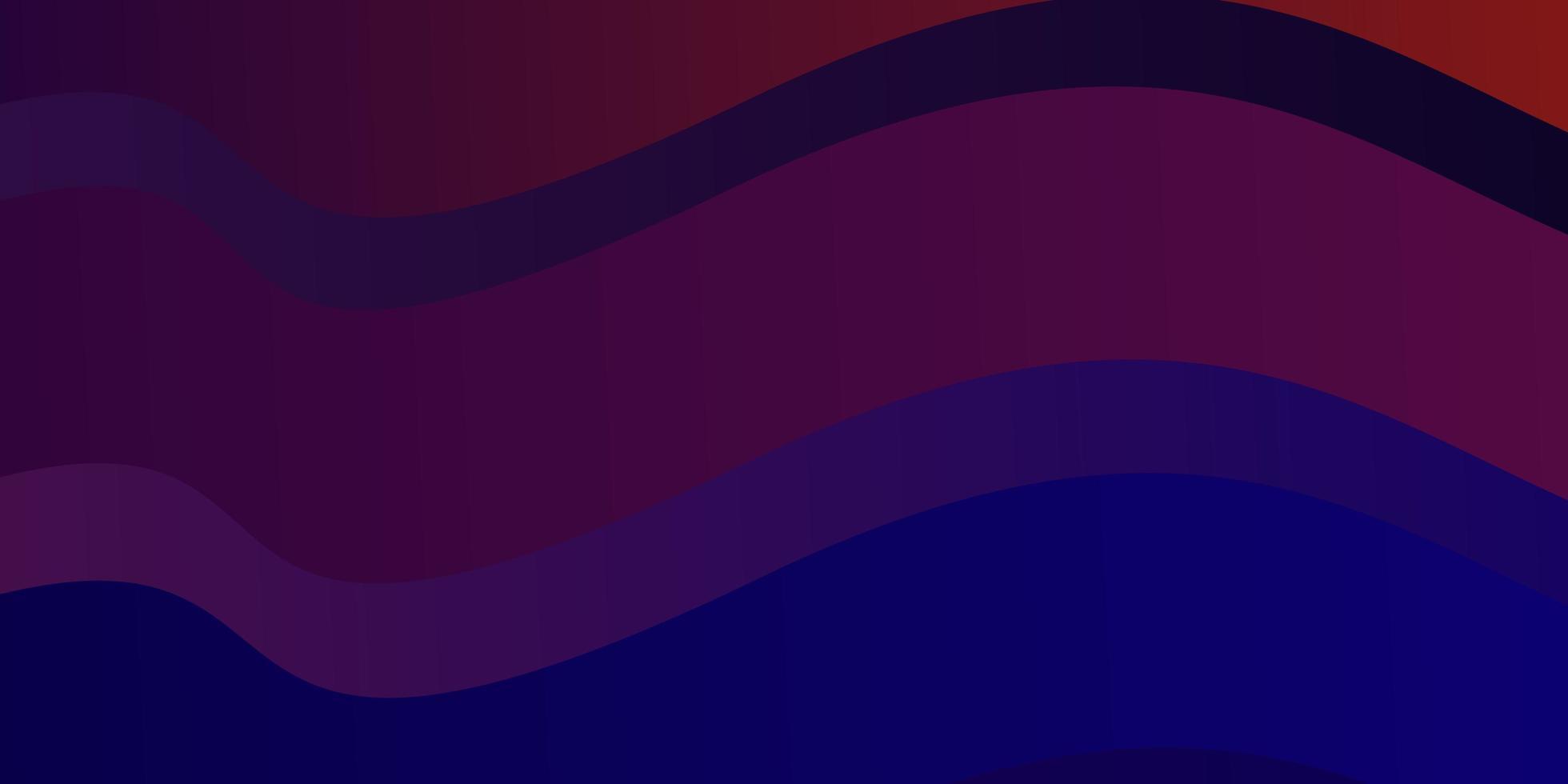 mörkblått, rött vektormönster med kurvor. vektor