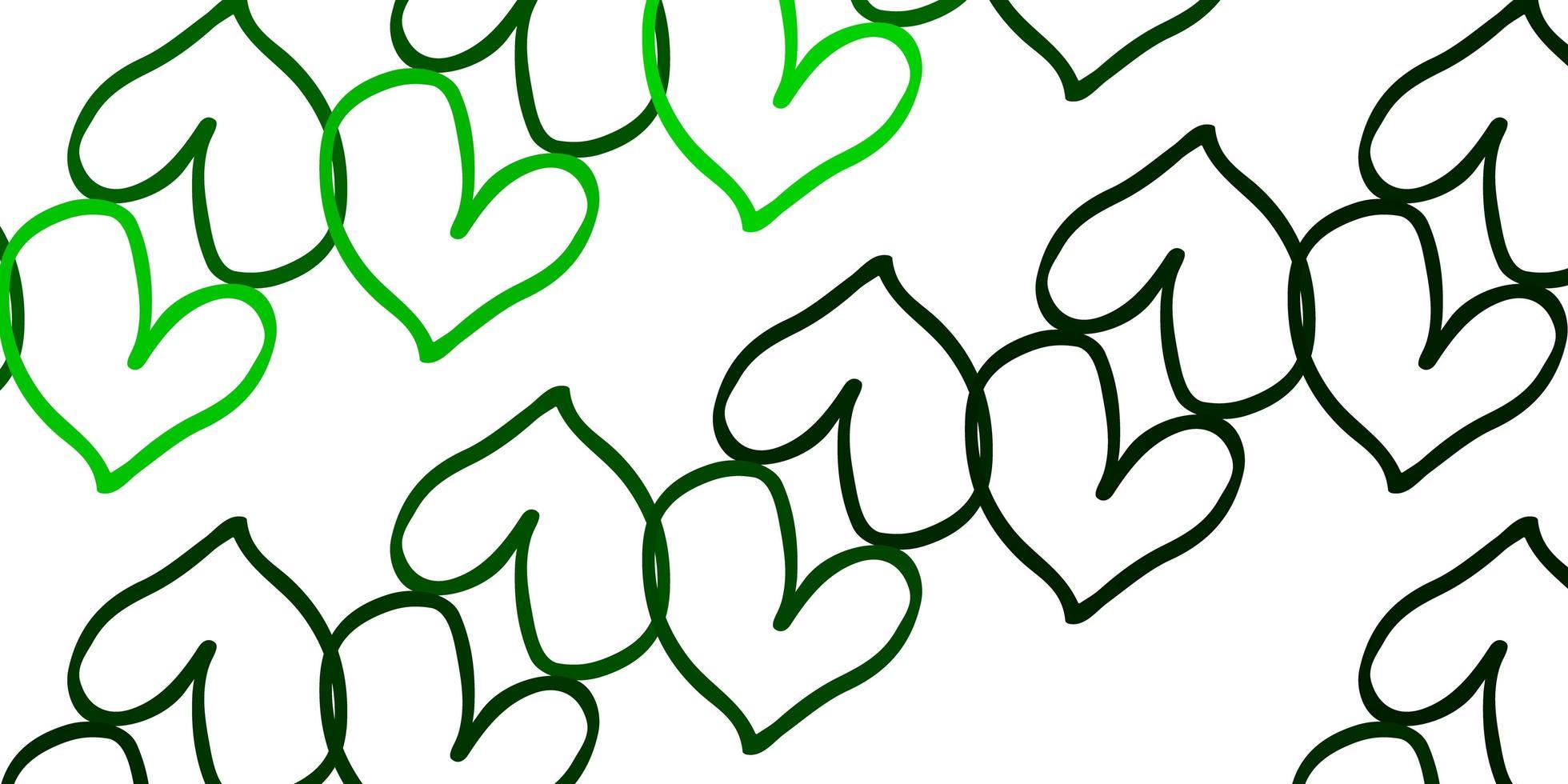 hellgrüner Vektorhintergrund mit süßen Herzen. vektor