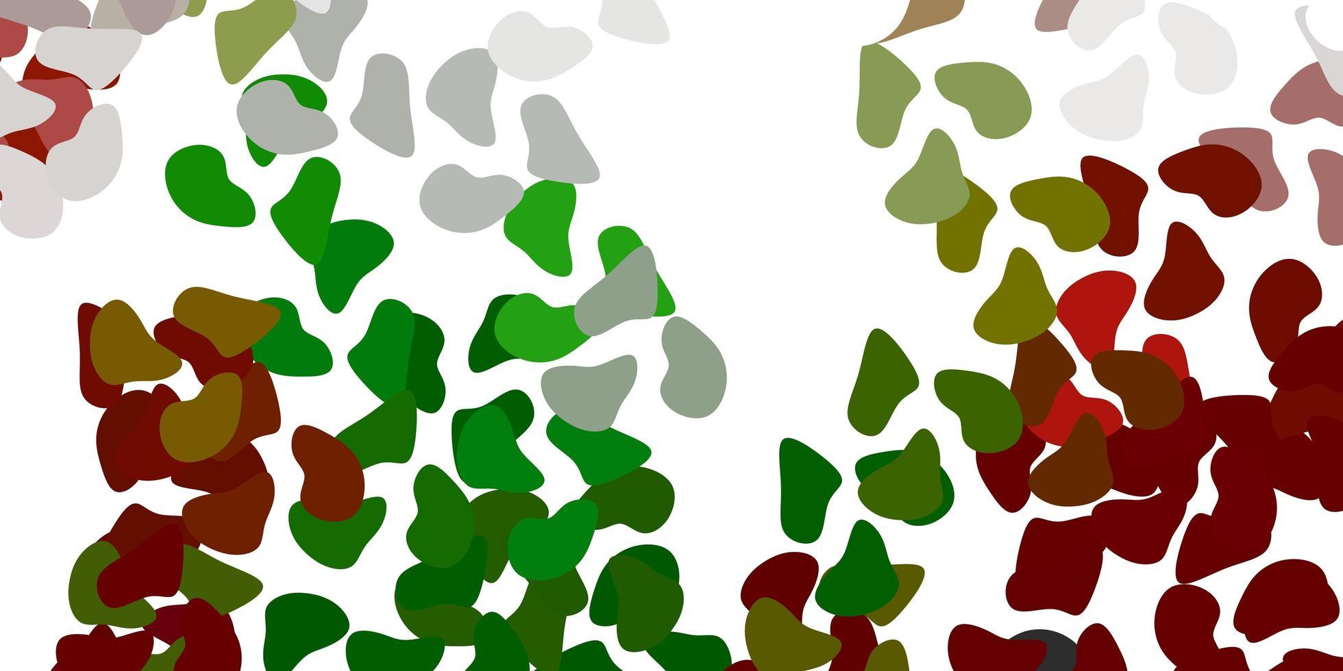 ljusgrön, röd vektorbakgrund med kaotiska former. vektor