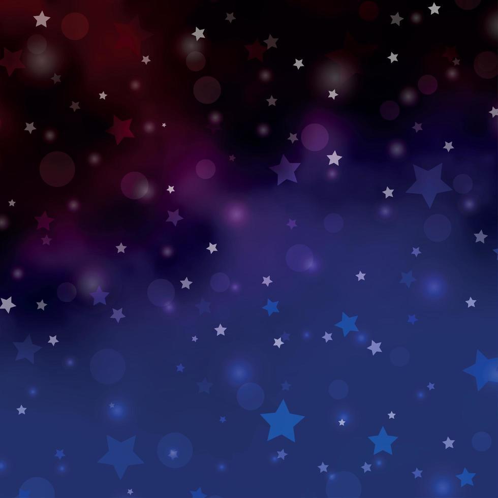 mörkblå, röd vektorlayout med cirklar, stjärnor. vektor