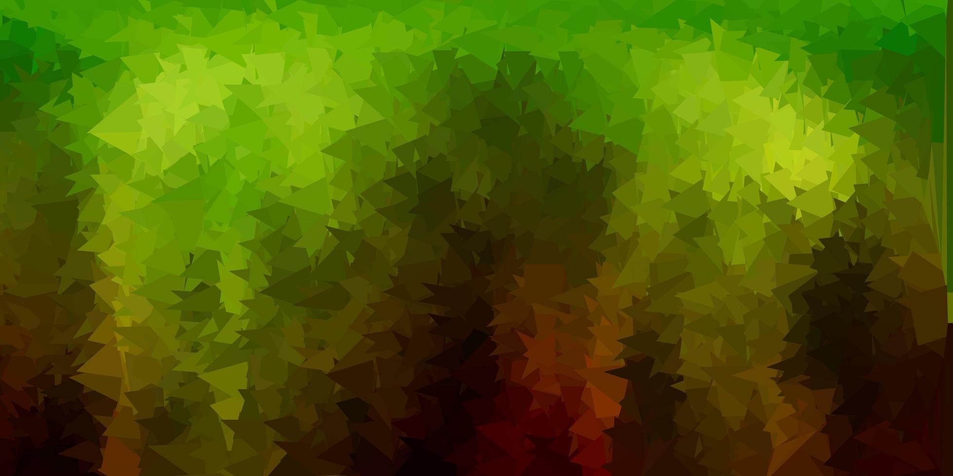 mörkgrön, gul vektor abstrakt triangelstruktur.