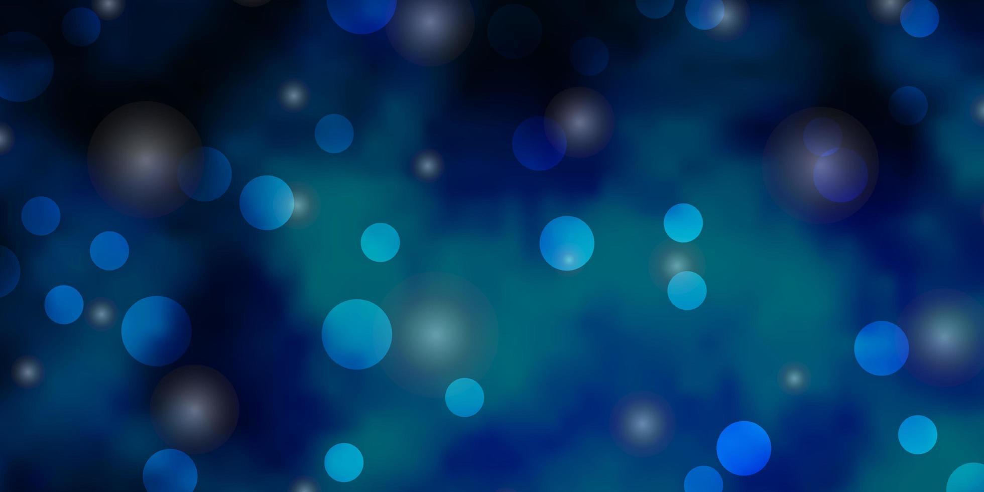 dunkelblaue Vektorbeschaffenheit mit Kreisen, Sternen. vektor