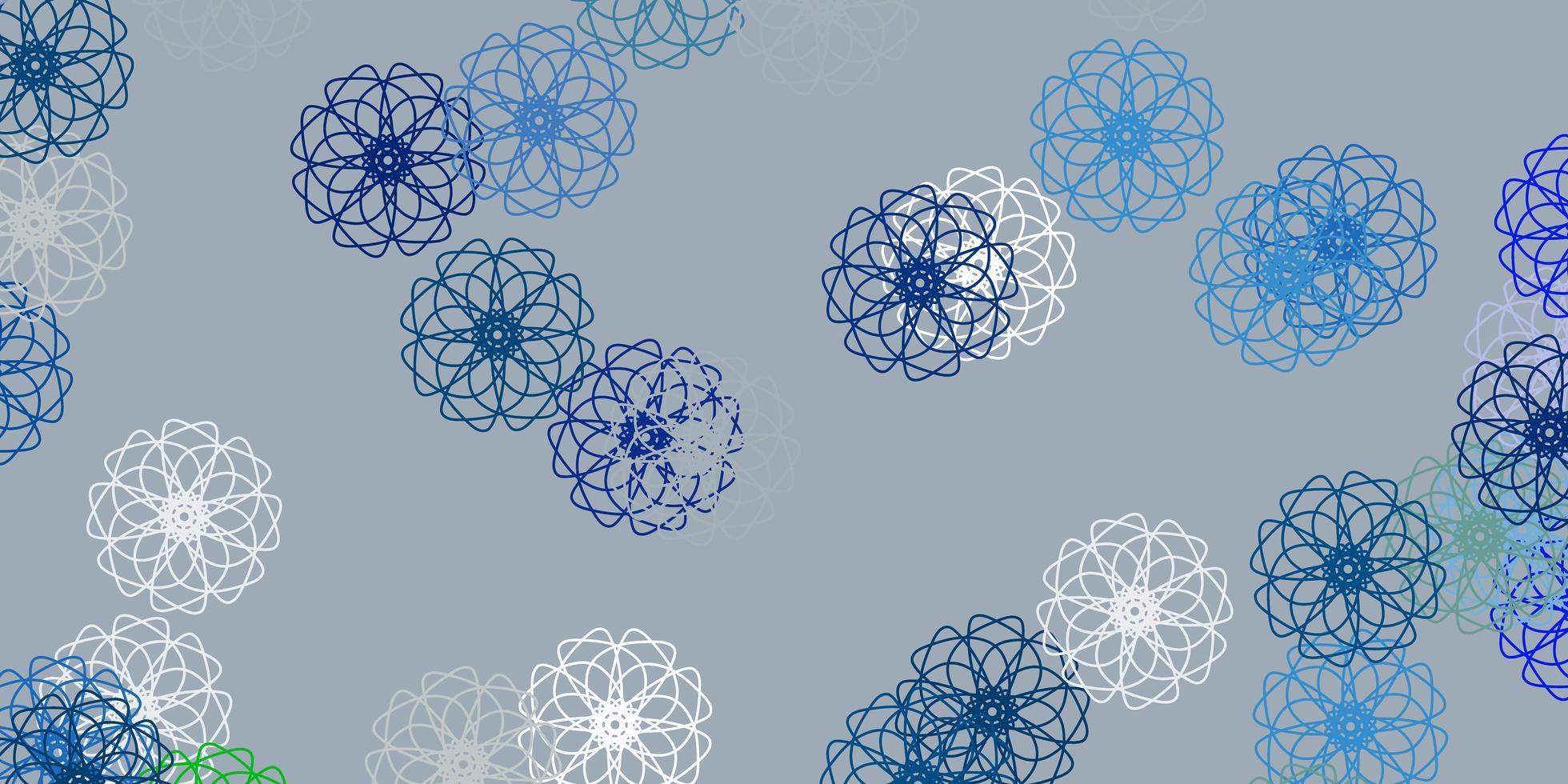 ljusblå, grön vektor doodle textur med blommor.