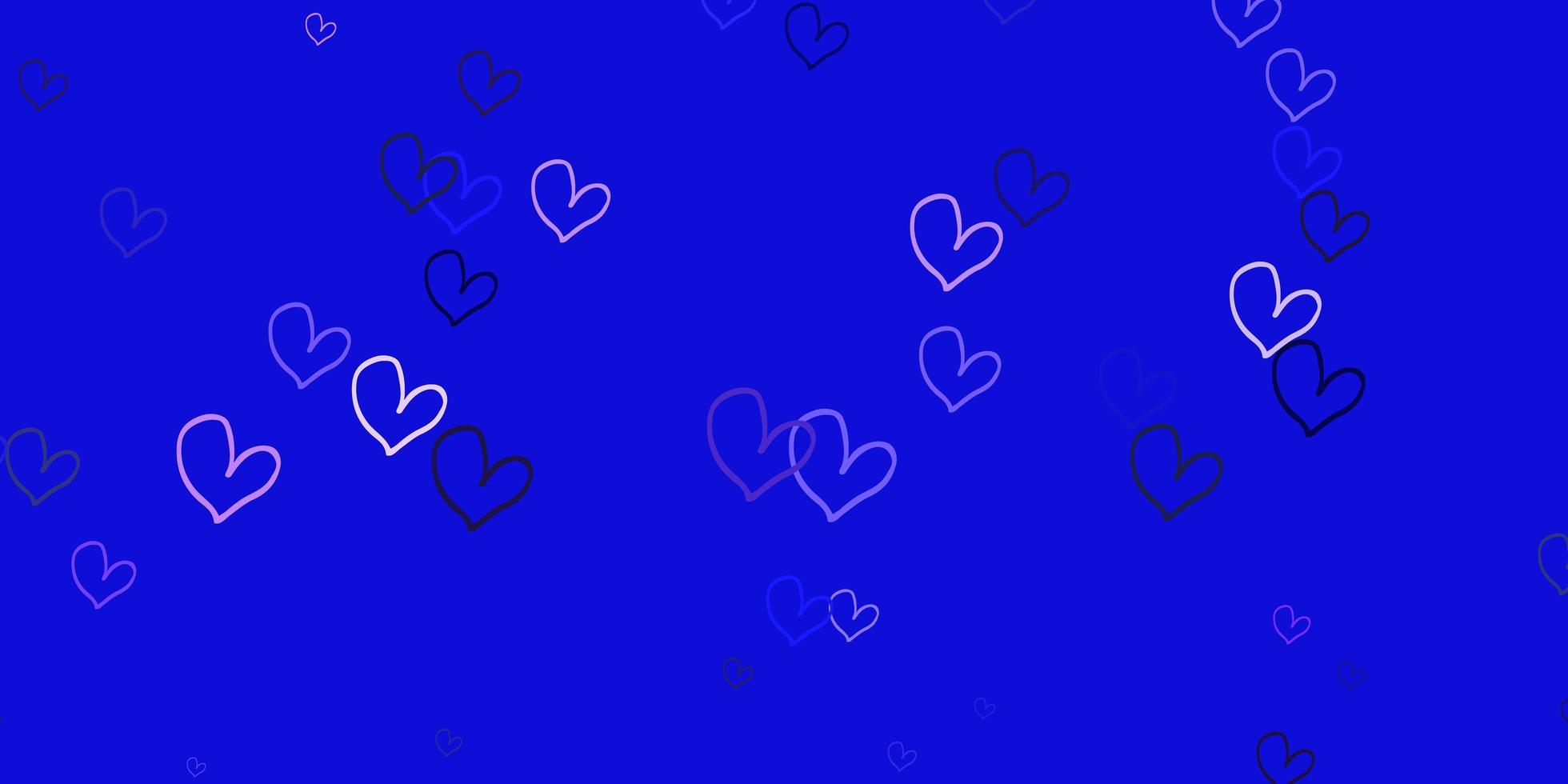 ljuslila vektor mönster med färgglada hjärtan.