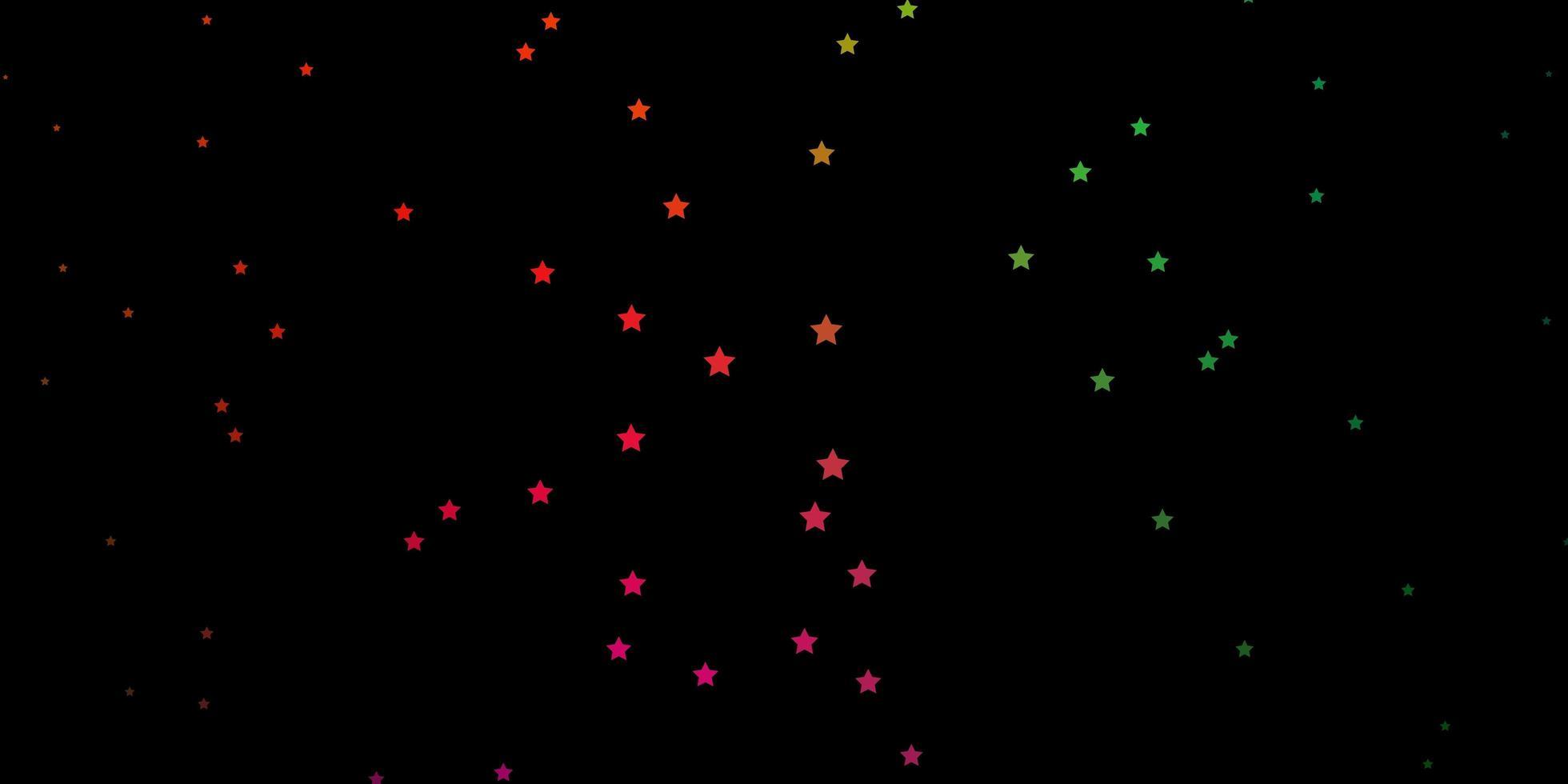 mörk flerfärgad vektormall med neonstjärnor. vektor