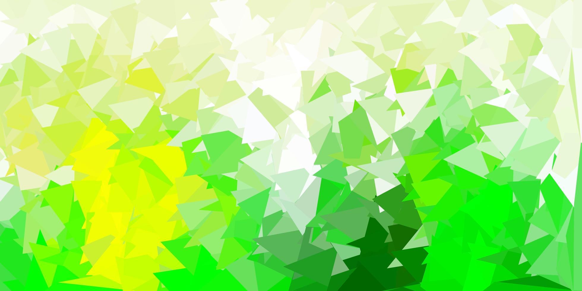 ljusgrön, gul vektor abstrakt triangelmall.