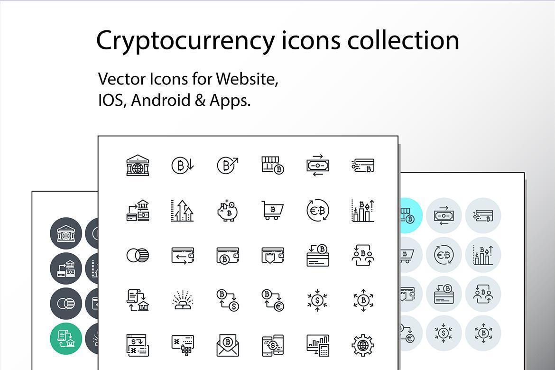 uppsättning tunn linje cryptocurrency ikoner vektor