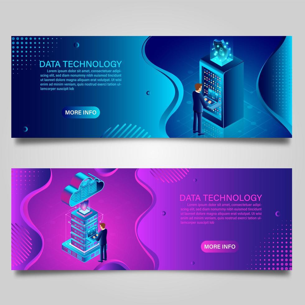 Datentechnologie-Banner-Set für Unternehmen mit isometrischem Design vektor