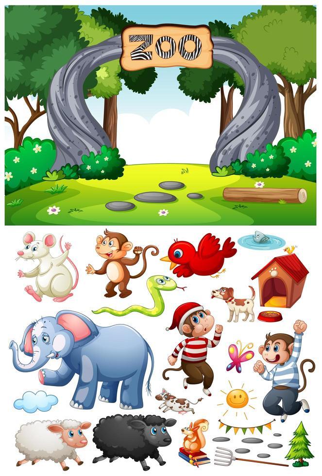 zoo scen med isolerade seriefigur och objekt vektor