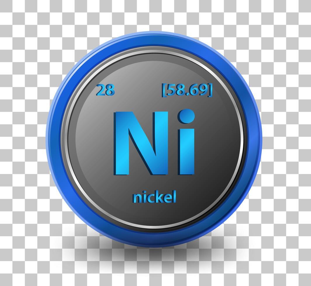 chemisches Nickelelement. chemisches Symbol mit Ordnungszahl und Atommasse. vektor