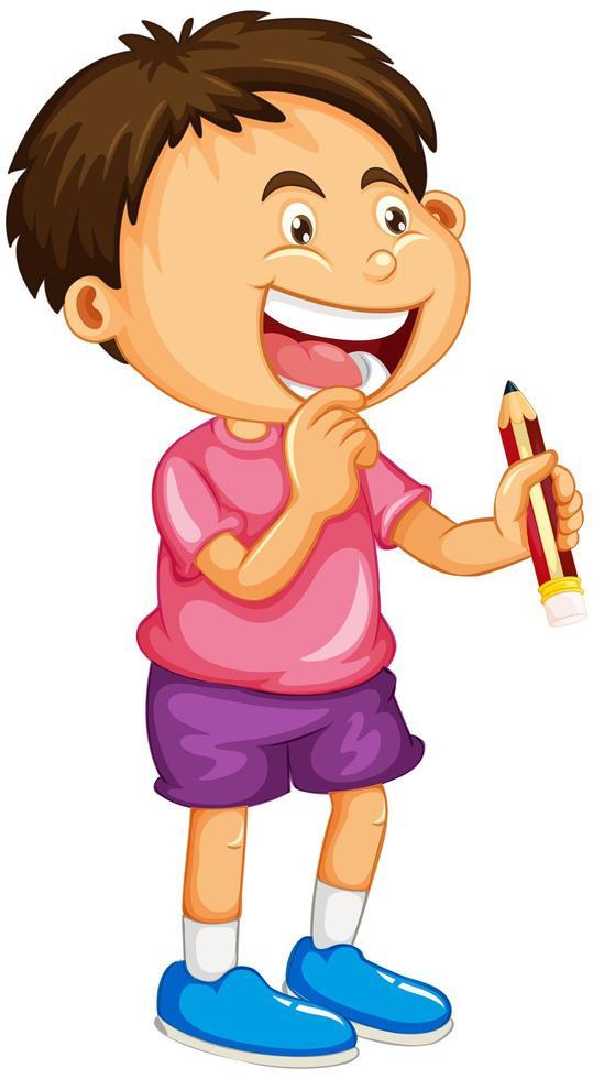 ein Junge, der eine Bleistiftkarikaturfigur lokalisiert auf weißem Hintergrund hält vektor