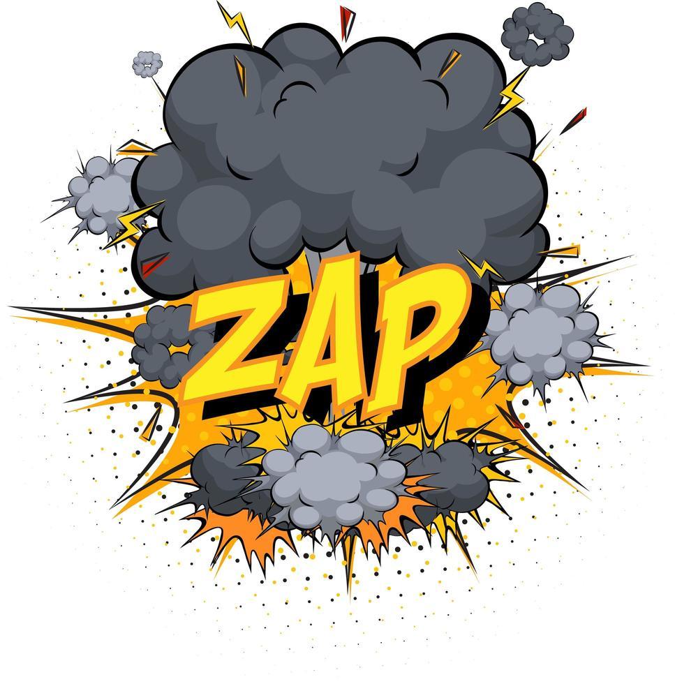 word zap på komisk moln explosion bakgrund vektor