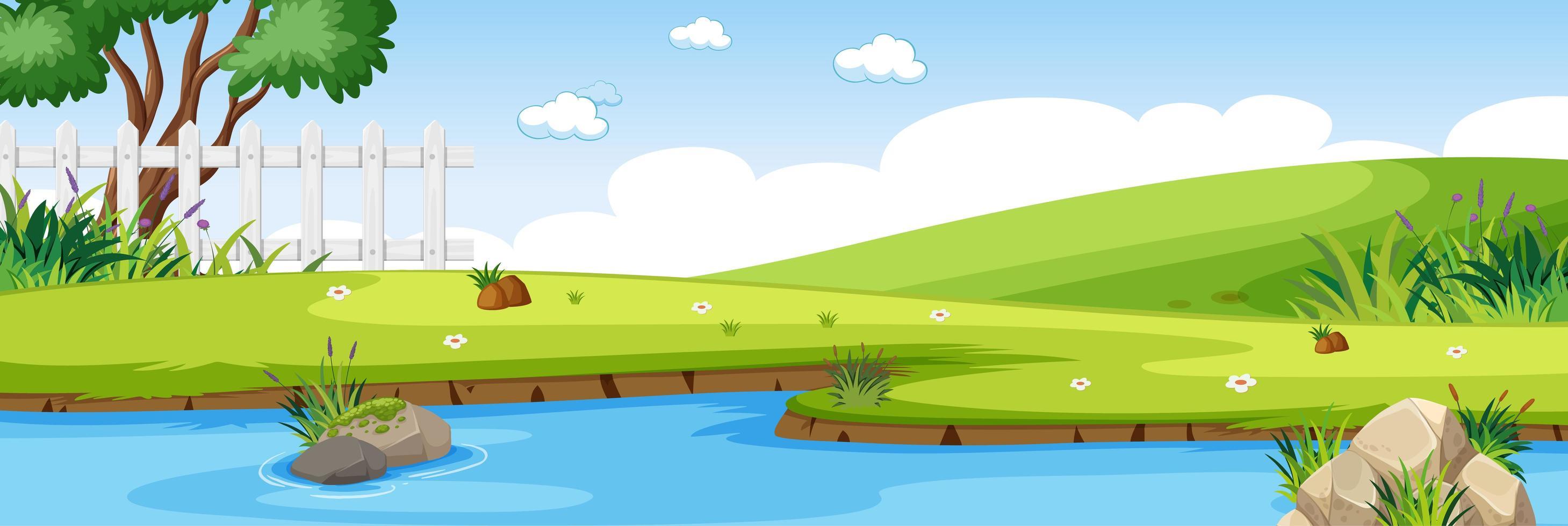 flodplats i parken med grön äng horisontell scen vektor