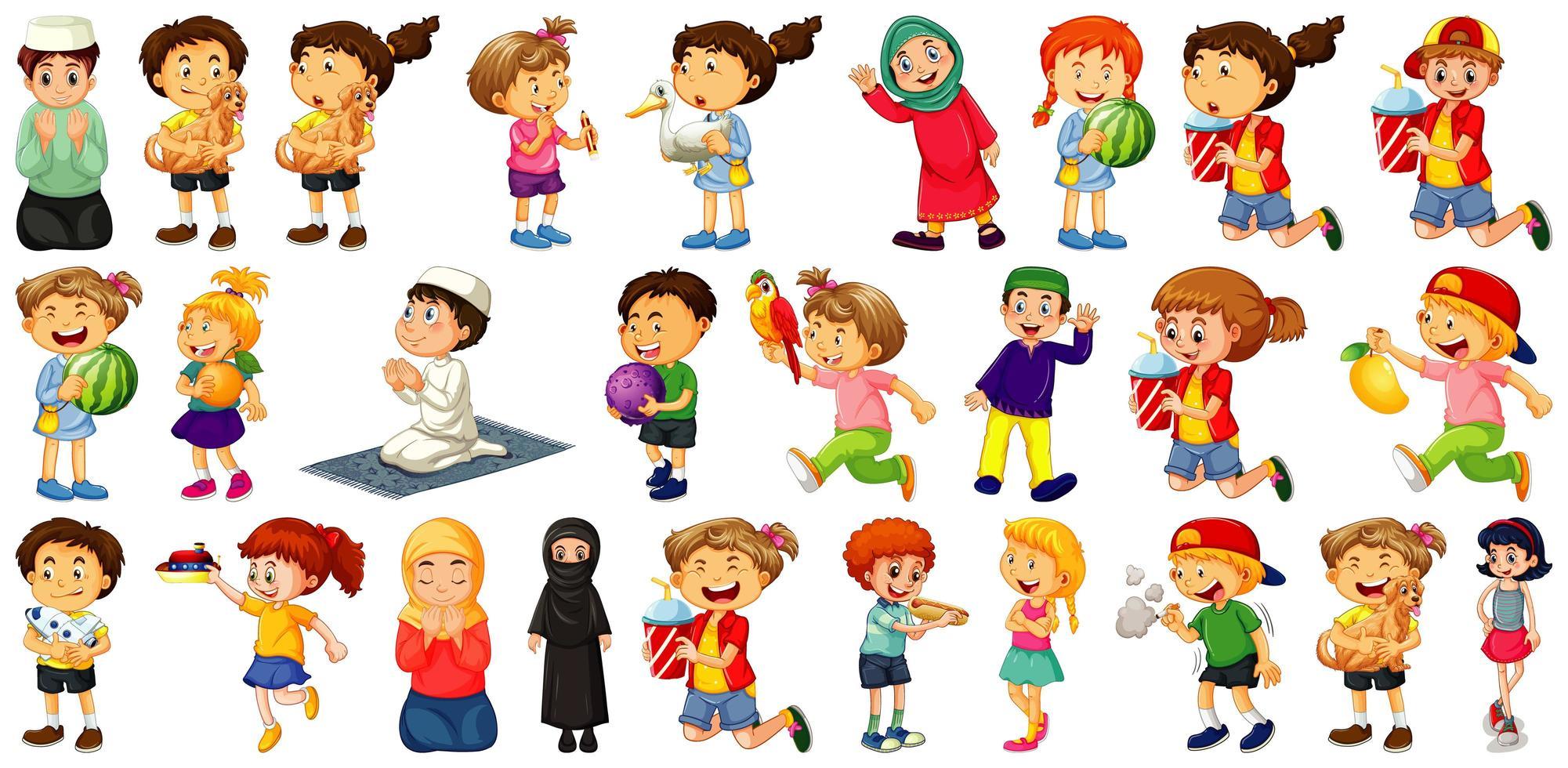 Kinder, die verschiedene Aktivitäten Cartoon Zeichensatz auf weißem Hintergrund tun vektor