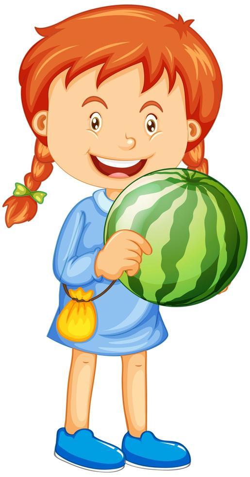 en flicka som håller vattenmelonfrukttecknad karaktär isolerad på vit bakgrund vektor
