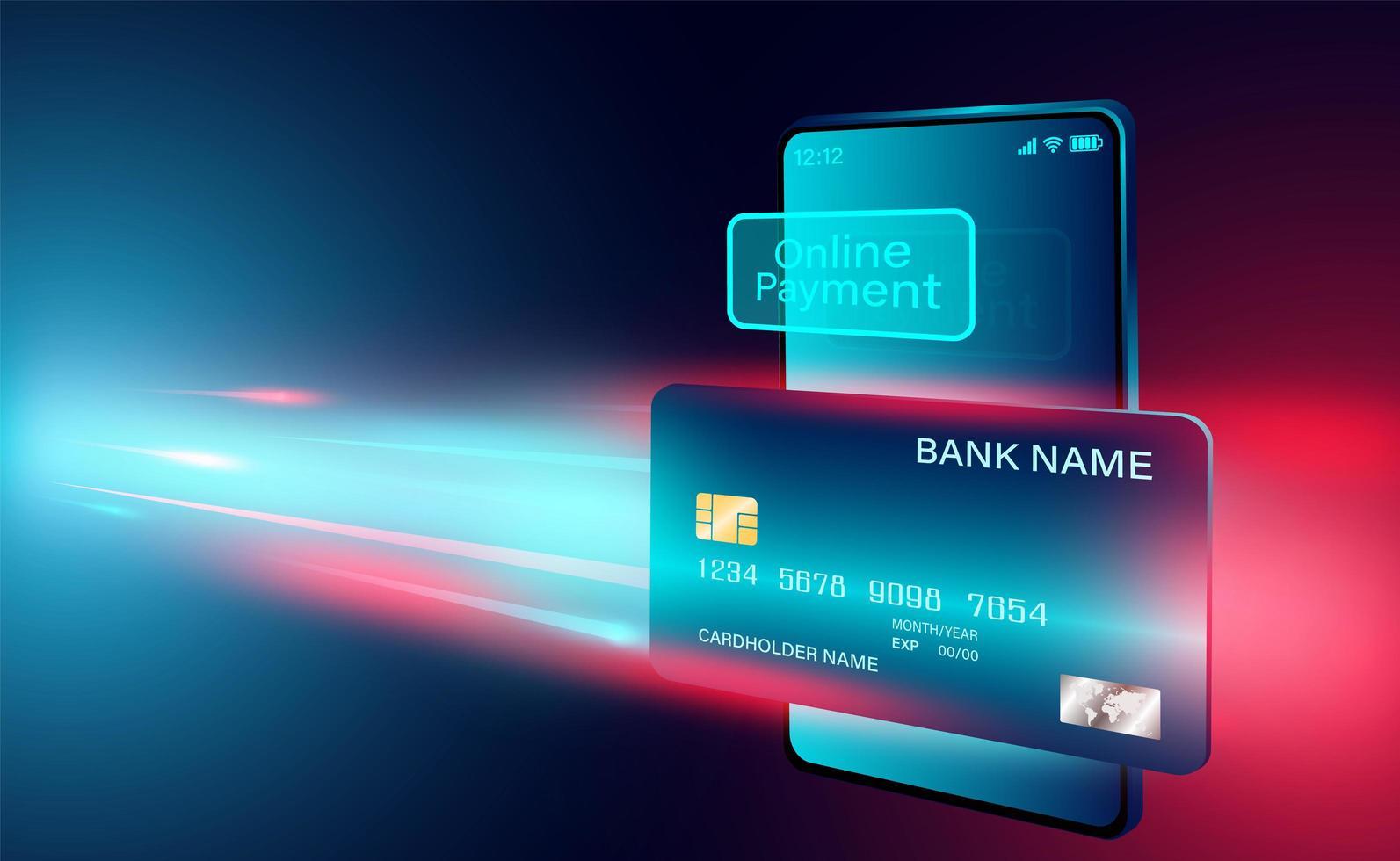 kreditkort online betalning koncept banner vektor