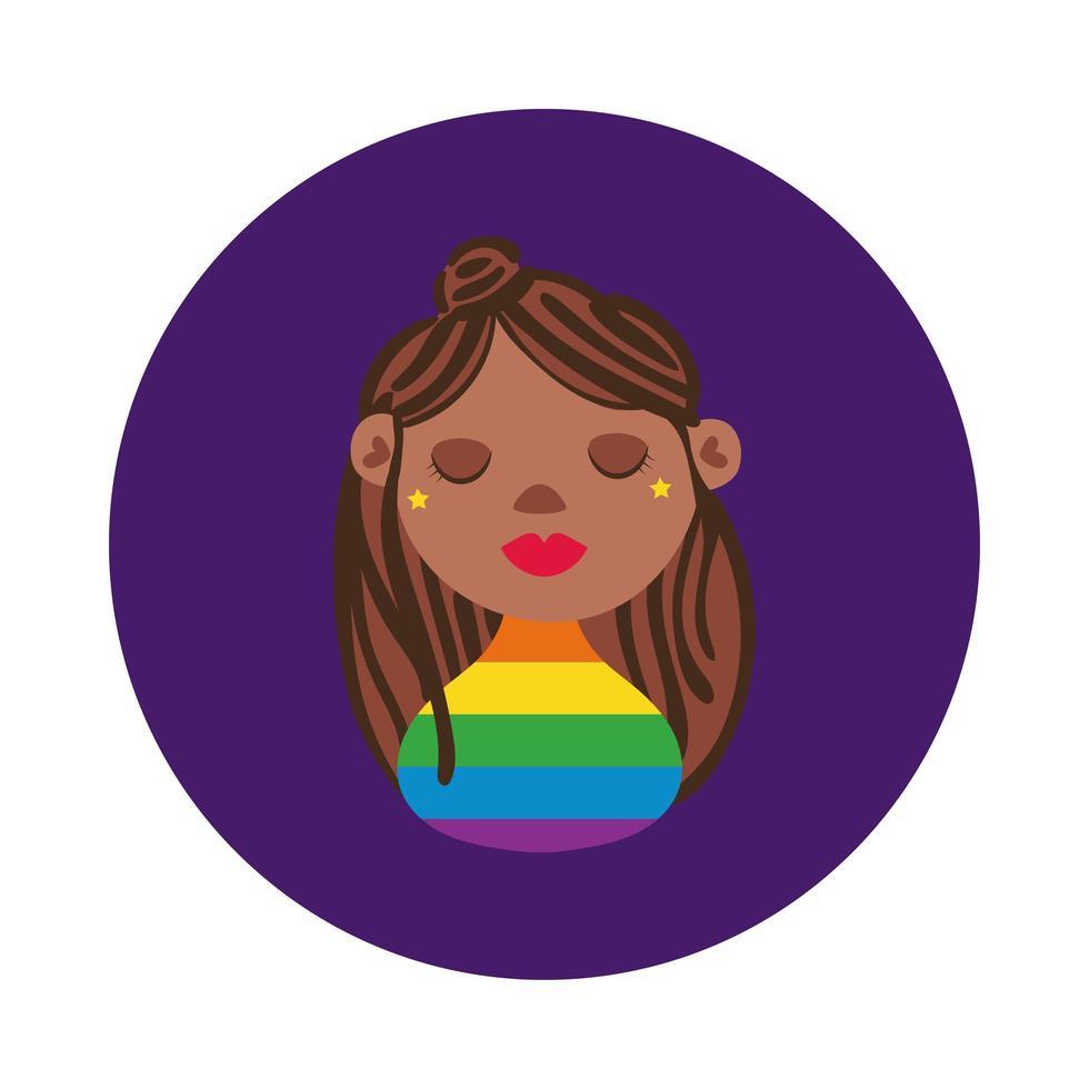 svart lesbisk karaktär gay pride block stil vektor