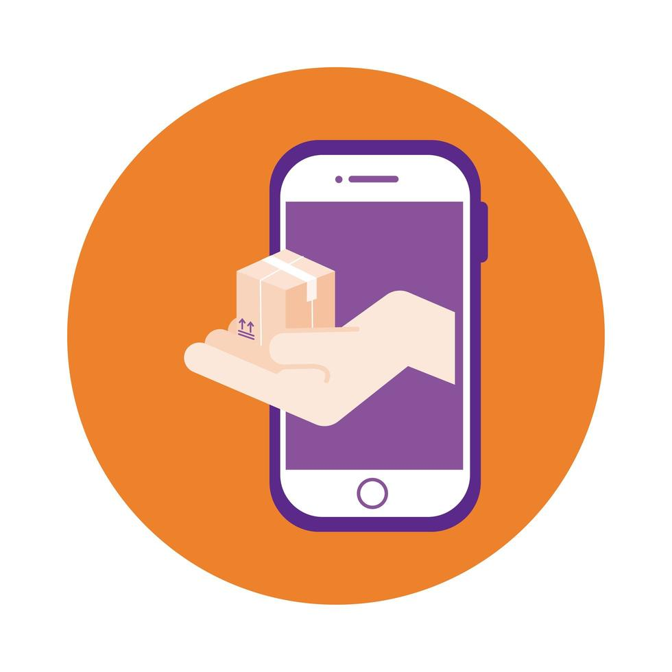 Box im Blockstil des Smartphone-Lieferservices vektor