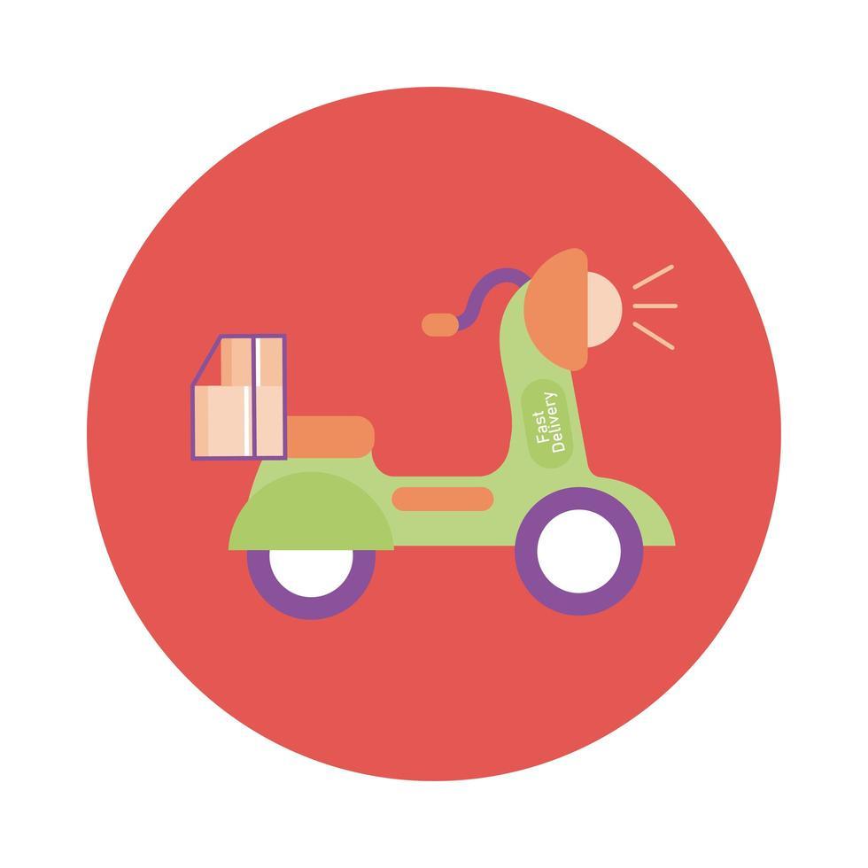 låda i motorcykel leverans service block stil vektor