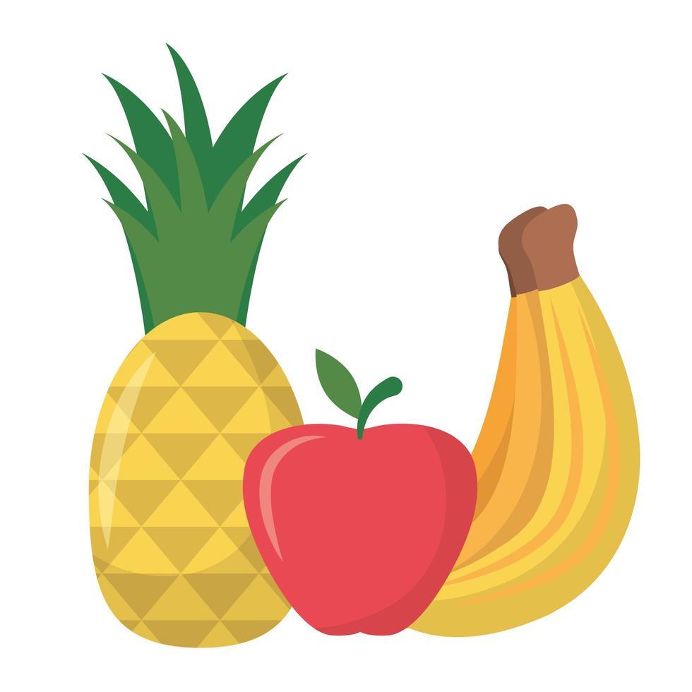 banan ananas och apple frukt vektor design