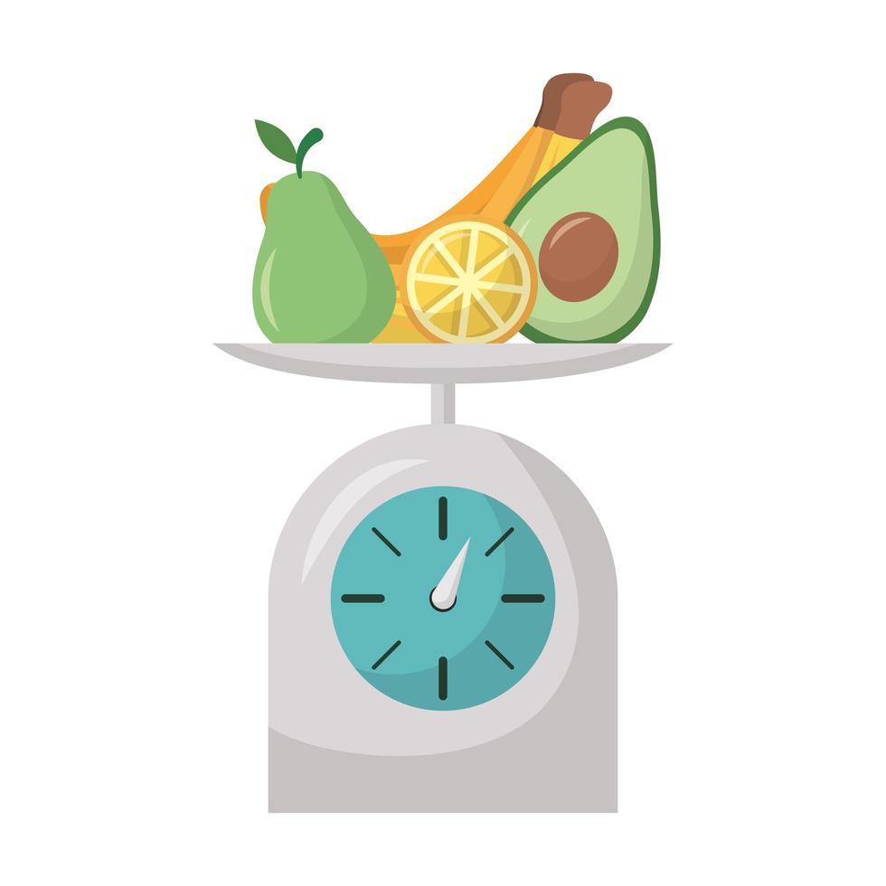 isolerad frukt i skala vektor design