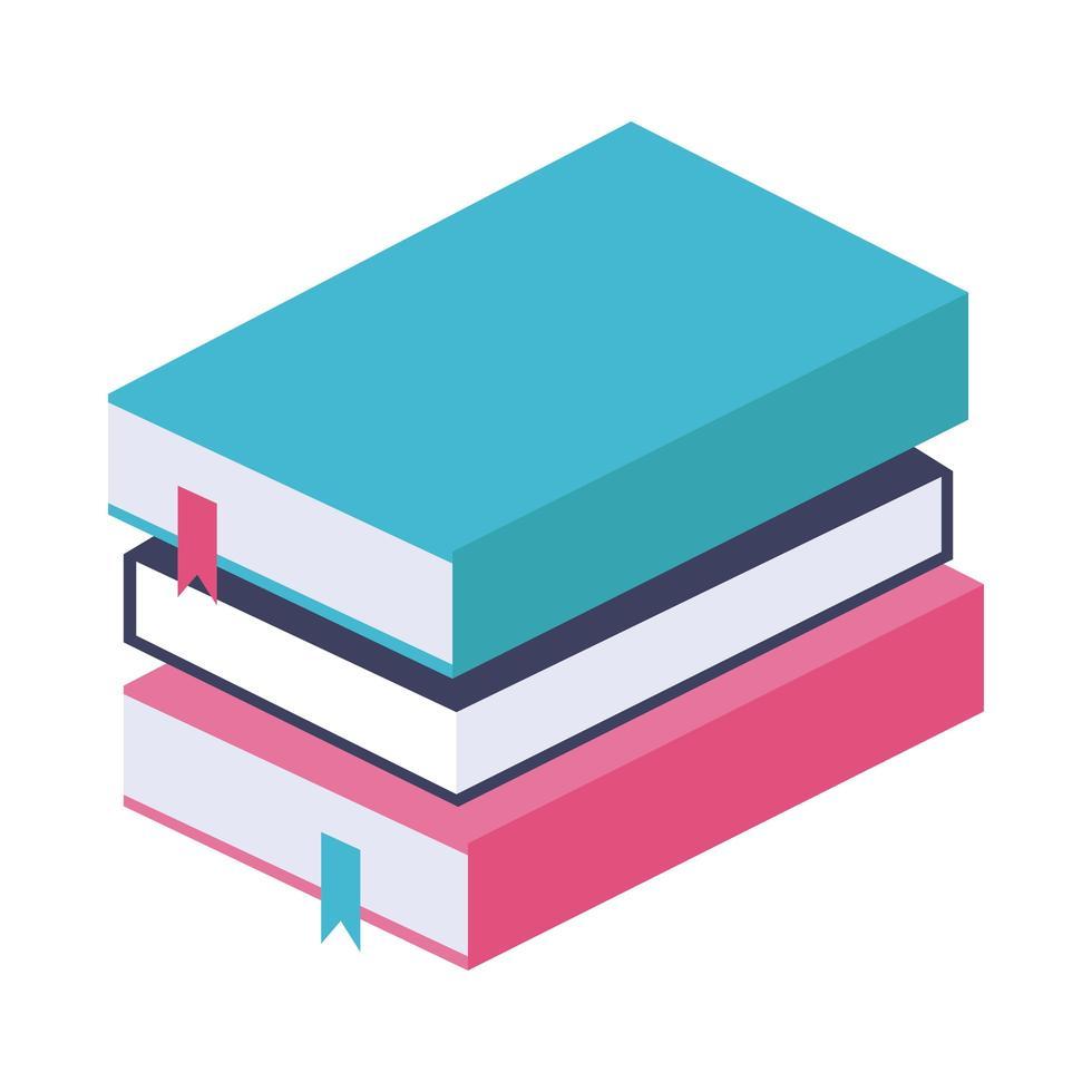 hög böcker platt stilikon vektor