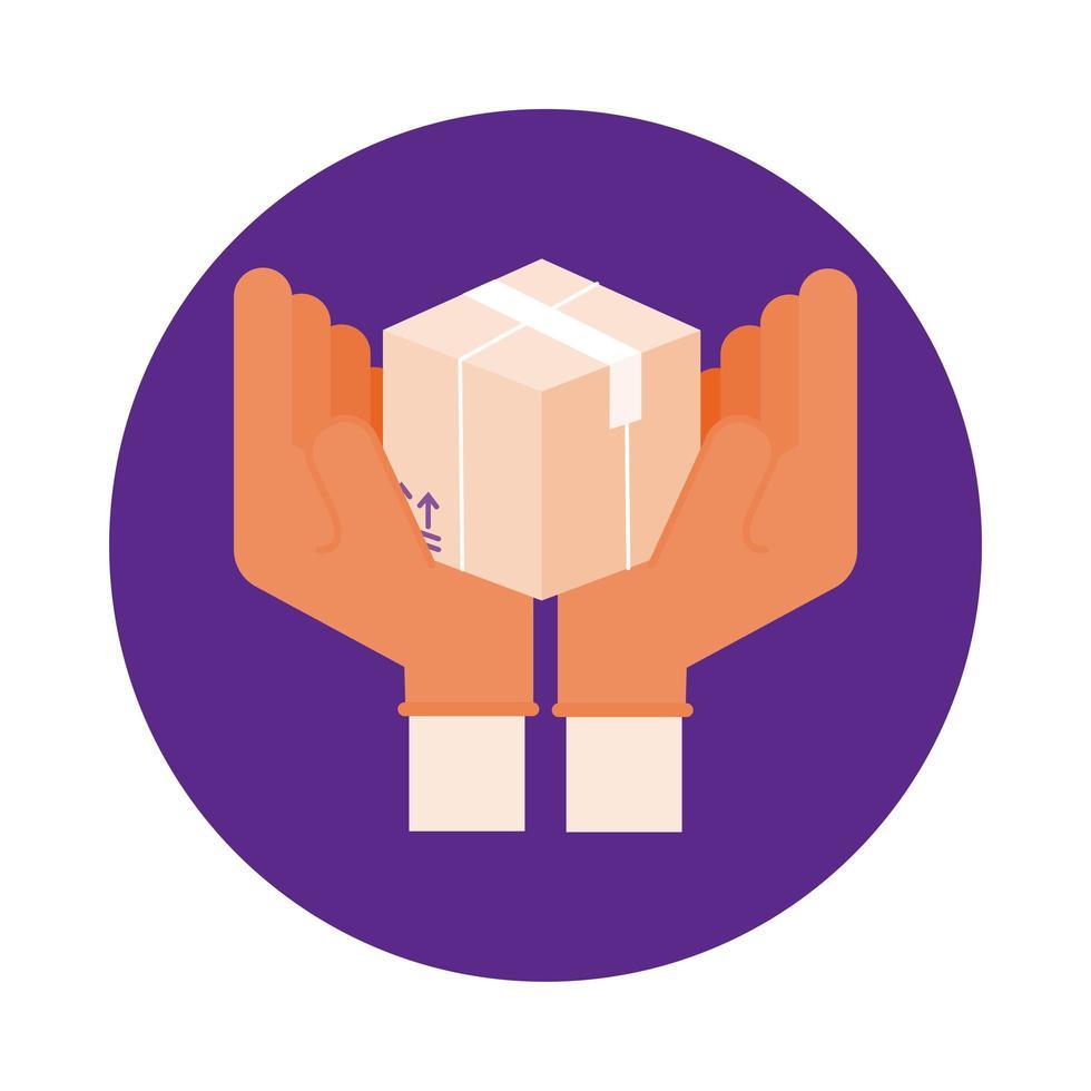 Hände heben Box Lieferservice Block Stil vektor