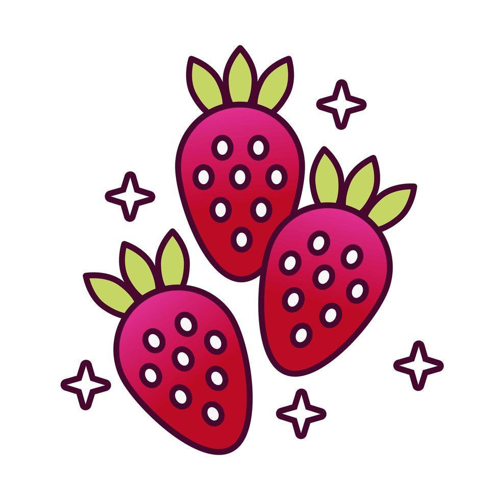 jordgubbar frukt detaljerad stilikon vektor