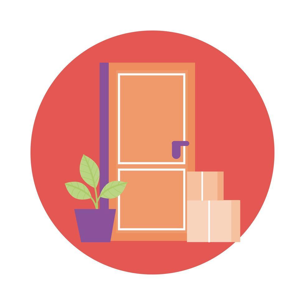 Kisten und Zimmerpflanze im Türlieferdienst-Blockstil vektor