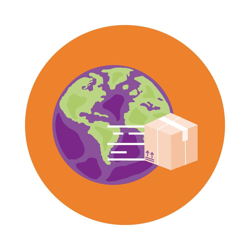 Jorden planet med box leverans service block stil vektor
