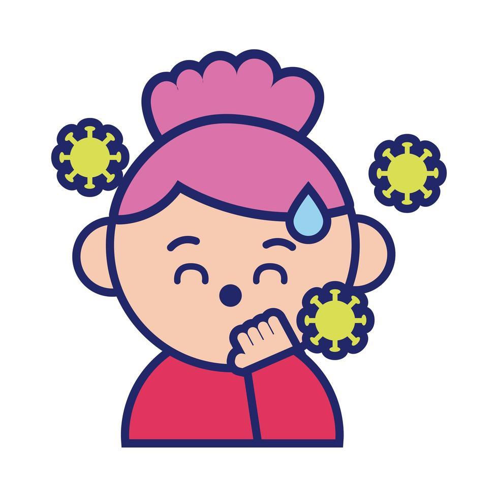 flicka med feber sjuk för covid19 kawaii linje stil vektor
