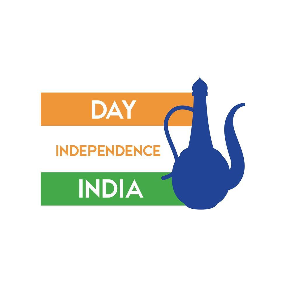 Indien självständighetsdagen firande med flagga och burk platt stil vektor