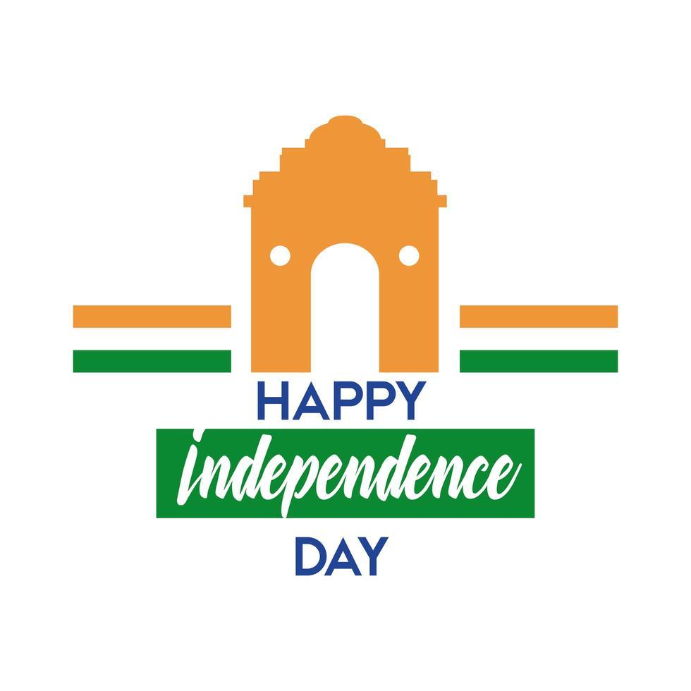 Indien självständighetsdagen firande med moskén båge platt stil vektor