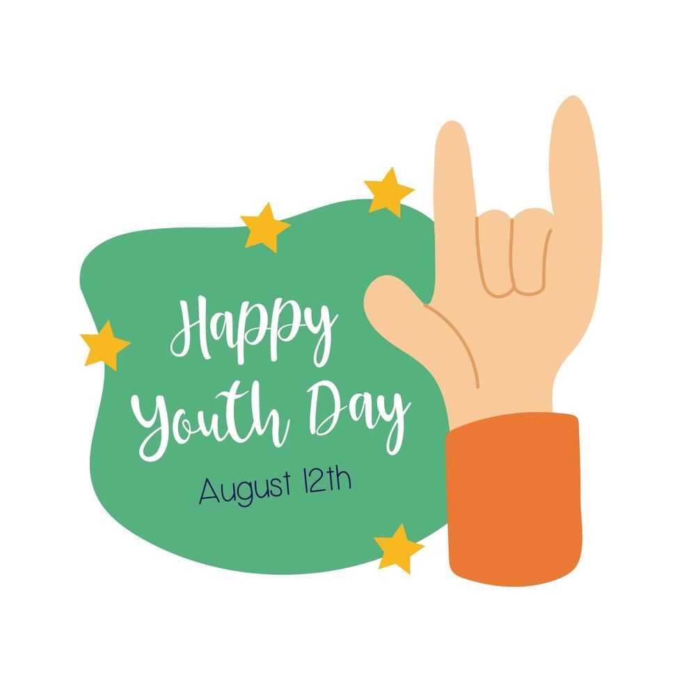 glad ungdomsbokstäver med hand rock and roll symbol platt stil vektor