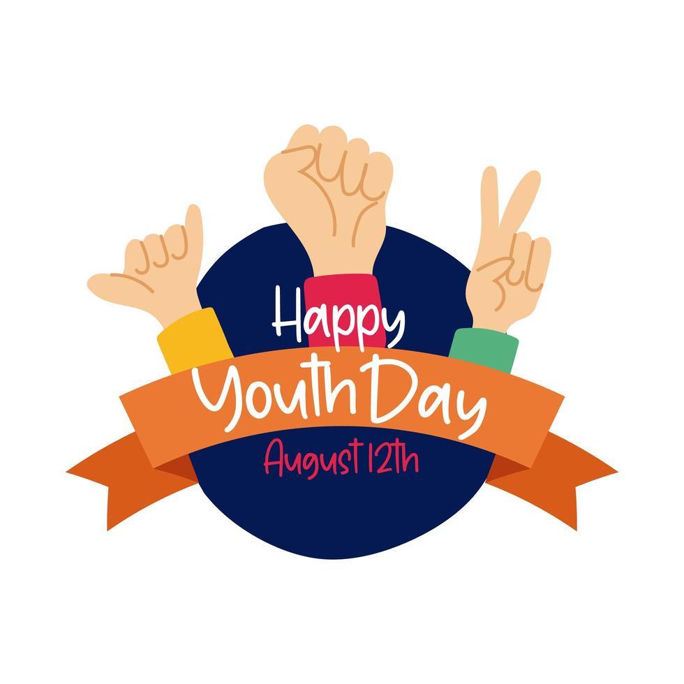 Happy Youth Day Schriftzug mit Händen Symbole flachen Stil vektor