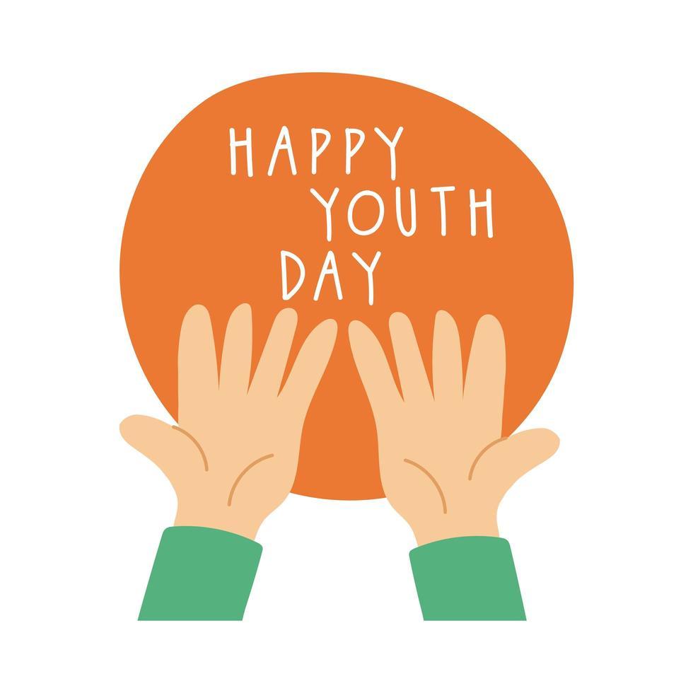glad ungdomsbokstäver med händer symboler platt stil vektor