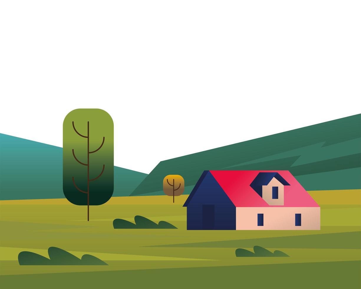 vacker landskap scen med hus vektor
