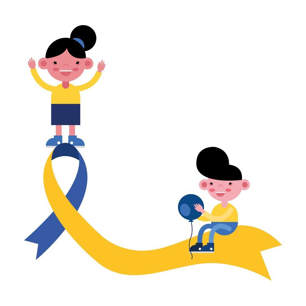 små barn med Downs syndrom kampanjband vektor
