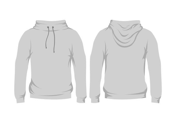 blank grå hooded tröja mall vektor