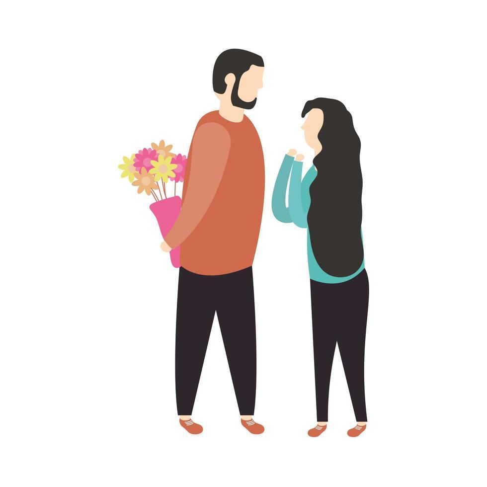 par kvinna och man med blommor vektordesign vektor