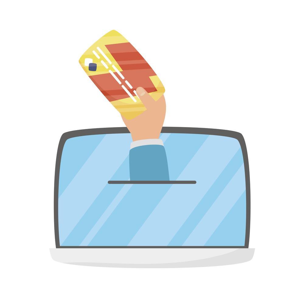 surfplatta och hand med kreditkortsvektordesign vektor