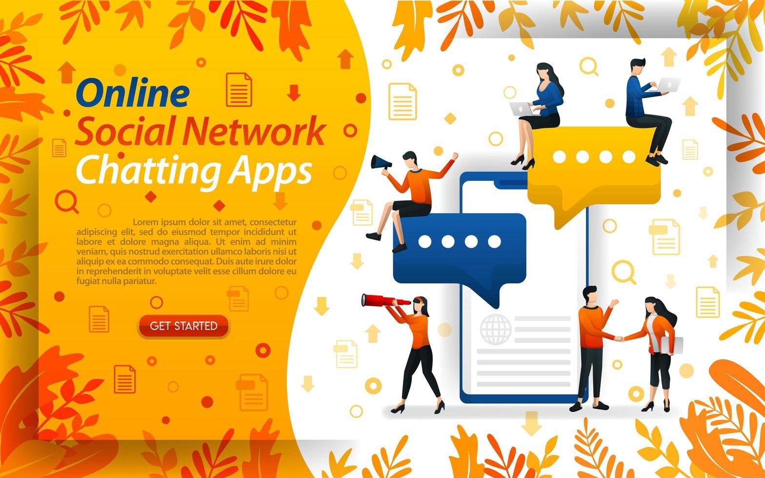 onlinechattappar. sociala nätverk för att skicka meddelanden. mobilappar för chatt, konceptvektorillustration. kan användas för, målsida, mall, ui, webb, mobilapp, affisch, banner, flayer vektor