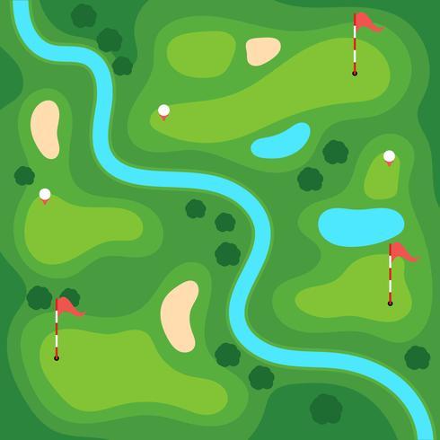 Golfbana med utsikt över havet vektor