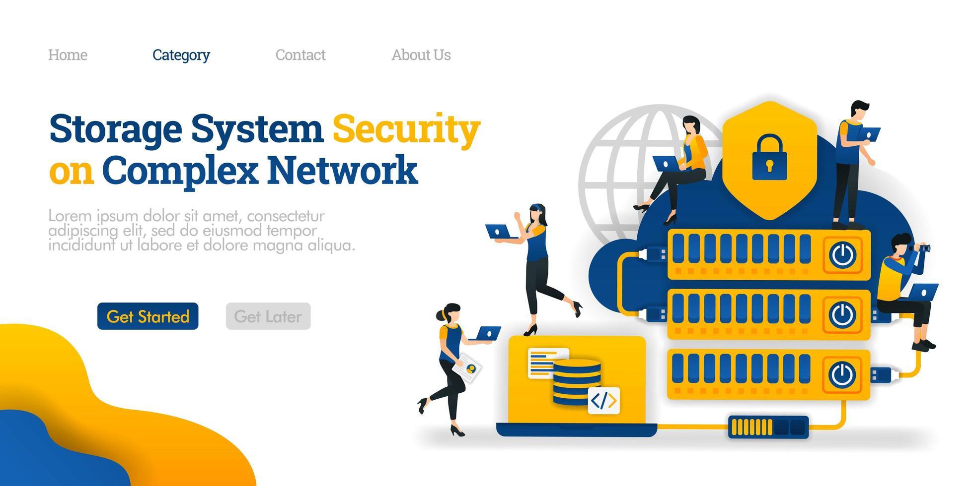 Speichersystemsicherheit in komplexen Netzwerken. Hosting für die Datensicherheit kompliziert gemacht. Vektor flache Illustration Konzept, kann verwendet werden, Landing Page, Vorlage, UI, Web, Homepage, Poster, Banner, Flyer