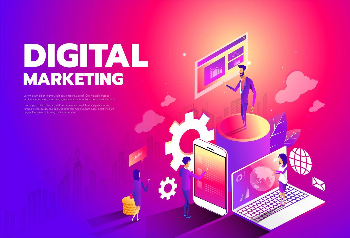 isometrisk stil design - marknadsföring strategi för innehåll, digital marknadsföring, innehåll delning platt vektor banner.