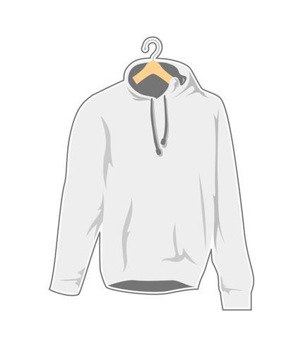 blank vit hängare hooded tröja mall vektor