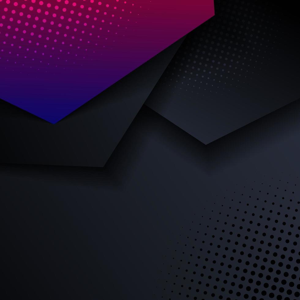 abstrakt rosa och blå geometriska sexkantiga riktningsskikt med skugga och halvton på svart bakgrund och konsistens. vektor